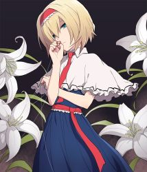 1girl, alice margatroid, bangs, blonde hair, blue dress, capelet, closed mouth, commentary request, cookie (touhou), cowboy shot, dress, flower, frilled capelet, frilled sash, frills, green eyes, grey background, hair between eyes, hairband, hinase (cookie), lolita hairband, looking at viewer, marionette, necktie, puppet, red hairband, red neckwear, red sash, sash, short hair, solo, tdnbk, touhou, white capelet, white flower