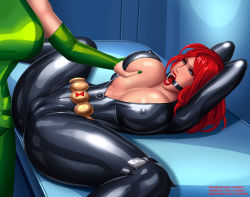 Rule 34 | 2girls, arms behind head, arms up, avengers, bdsm, belt, black bodysuit, black catsuit, black widow, black widow (marvel), blue eyes, bodysuit, bondage, bound, bound legs, bounded, breast grab, breast squeeze, breasts, bursting breasts, cameltoe, captured, catsuit, center opening, character name, cleavage, cleft of venus, covered erect nipples, covered pussy, deviantart username, eyebrows, eyelashes, female focus, female soldier, femdom, gag, gagged, grabbing, grabbing another's breast, green bodysuit, green nails, groping, gumroad reward, highres, huge breasts, huge cleavage, hydra, legs apart, lips, lipstick, long hair, looking at another, makeup, marvel, marvel comics, molest, molestation, multiple girls, nail polish, natasha romanoff, nipples, no bra, open mouth, open mouth gag, paid reward, patreon username, red hair, red lips, restrained, shiny, shiny clothes, shiny hair, shiny skin, shocked expression, shocked face, skin tight, skin tight clothing, skin tight suit, spread legs, svoidist, teeth, thin eyebrows, tongue, unzipped, unzipped bodysuit, viper (hydra), watermark, web address