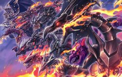 breathing fire, character request, claws, closed mouth, commentary request, deadspike nine, dragon, duel monster, fire, from side, glowing, glowing eyes, highres, open mouth, red-eyes b. dragon, red eyes, sharp teeth, teeth, yellow eyes, yu-gi-oh!
