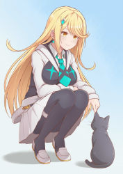 1girl, alternate costume, bangs, blonde hair, breasts, cat, earrings, hair ornament, hairpin, jewelry, large breasts, long hair, mythra (xenoblade), pantyhose, swept bangs, very long hair, xenoblade chronicles (series), xenoblade chronicles 2, yellow eyes, yoruusagi