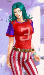 1girl, belt, blue eyes, gatchaman, green hair, highres, jun the swan, lipstick, looking at viewer, makeup, pants, red shirt, shirt, striped, toten (artist), toten (der fuhrer), vertical stripes