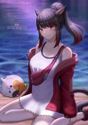 1girl, andonoz, animal ears, bangs, beach, black hair, blush, breasts, cat, cat ears, cat tail, dress, eyebrows visible through hair, facial mark, fat cat (ff14), final fantasy, final fantasy xiv, highres, jacket, large breasts, looking at viewer, medium hair, miqo'te, multicolored hair, night, off shoulder, open clothes, open jacket, outdoors, ponytail, red eyes, red hair, sitting, smile, solo, tail, two-tone hair, wariza, whisker markings