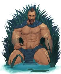 1boy, abs, absurdres, arm tattoo, bara, bare pecs, beard, blue cape, brown hair, cape, dark skin, dark skinned male, facial hair, highres, large pectorals, league of legends, leg tattoo, looking at viewer, male focus, male pubic hair, mature male, mohawk, muscular, muscular male, navel, navel hair, nipples, pantheon (league of legends), partially submerged, pelvic curtain, penis, plant, pubic hair, reward available, scar, scar on chest, short hair, solo, spread legs, stomach, tattoo, thick thighs, thighs, whyhelbram