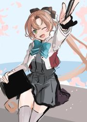 1girl, akigumo (kancolle), black gloves, blazer, blue neckwear, bow, bowtie, brown hair, cowboy shot, drawing tablet, foreshortening, gloves, green eyes, hair ribbon, jacket, kantai collection, left-handed, long hair, looking at viewer, mole, mole under eye, partially fingerless gloves, pleated skirt, ponytail, remodel (kantai collection), ribbon, school uniform, single glove, skirt, smile, solo, thighhighs, work in progress, yunamaro