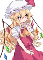 1girl, absurdres, alternate hair length, alternate hairstyle, ascot, bangs, blonde hair, bright pupils, cowboy shot, crystal, flandre scarlet, hair between eyes, hat, hat ribbon, highres, index finger raised, long hair, looking at viewer, mob cap, nail polish, open mouth, puffy short sleeves, puffy sleeves, rainbow order, red eyes, red nails, red ribbon, red skirt, red vest, ribbon, shirt, short sleeves, simple background, skirt, solo, standing, touhou, tsukimirin, vest, white background, white headwear, white pupils, white shirt, wings, yellow neckwear