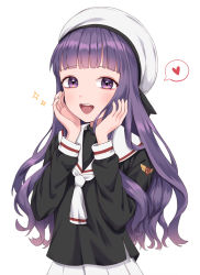 1girl, :d, bangs, black shirt, blunt bangs, cardcaptor sakura, clamp (style), commentary request, daidouji tomoyo, hands on own cheeks, hands on own face, hands up, hat, heart, highres, long hair, looking at viewer, mongkyung, open mouth, pleated skirt, purple eyes, purple hair, sailor hat, shirt, simple background, skirt, smile, solo, spoken heart, upper body, very long hair, white background, white headwear, white neckwear, white skirt