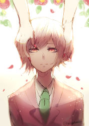 1boy, 1girl, absurdres, artist name, bangs, brown jacket, collared shirt, commentary, danganronpa (series), danganronpa 3 (anime), english commentary, enoshima junko, flower, formal, green neckwear, hakamii, hands on another's head, highres, jacket, looking at viewer, male focus, mitarai ryouta, nail polish, necktie, petals, red eyes, red flower, red nails, shirt, short hair, simple background, smile, solo focus, suit, upper body, white background