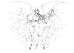 Rule 34 | 1girl, akiranime, areolae, bats, bouncing breasts, breasts, cleavage, cleft of venus, collarbone, contrapposto, cowboy shot, cowgirl position, curvy, demon girl, demon horns, demon wings, devil lady (akiranime), greyscale, high heels, horns, huge breasts, lips, lipstick, long hair, looking at viewer, makeup, monochrome, monster girl, nail polish, navel, nude, original, pentagram, polearm, pubic tattoo, pussy, simple background, sketch, smile, solo, stiletto heels, stilettos, straddling, tattoo, trident, weapon, white background, wide hips, wings