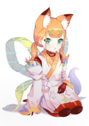 1girl, absurdres, animal ears, bangs, blue eyes, blunt bangs, colored skin, detached sleeves, fox ears, full body, hair ornament, hairclip, highres, japanese clothes, jiliang jiying yumao, joints, kimono, looking at viewer, low twintails, medium hair, orange hair, original, parted lips, red skin, robot joints, seiza, simple background, sitting, solo, twintails, white background, white kimono, x hair ornament