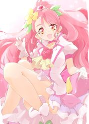 1girl, :d, ashita wa hitsuji, choker, commentary request, cure grace, dress, earrings, eyelashes, flower, gloves, hair flower, hair ornament, hanadera nodoka, happy, healin' good precure, highres, jacket, jewelry, long hair, looking at viewer, magical girl, open mouth, pink choker, pink dress, pink eyes, pink hair, pink jacket, pink skirt, pleated skirt, ponytail, precure, puffy short sleeves, puffy sleeves, short sleeves, skirt, smile, solo, white gloves