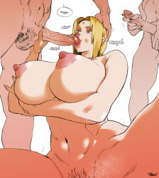 Rule 34   1girl, 2boys, areolae, artist request, blonde hair, breasts, cleavage, fellatio, highres, huge breasts, multiple boys, naruto (series), naruto shippuuden, naughty face, naughty smile, nipples, nude, oral, pussy, tsunade