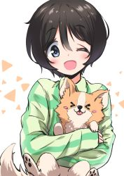 > <, 1girl, :d, absurdres, animal, black hair, blue eyes, blush, blush stickers, chihuahua, chikuwa (yurucamp), dog, eyebrows visible through hair, highres, holding, holding animal, holding dog, hug, n2midori, one eye closed, open mouth, saitou ena, short hair, simple background, smile, tongue, tongue out, upper body, yurucamp