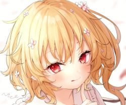 1girl, :q, blonde hair, blurry, blurry background, blush, breasts, commentary request, crystal, dress, face, fang, finger to own chin, flandre scarlet, flower, hair flower, hair ornament, hand up, honotai, index finger raised, looking at viewer, no hat, no headwear, one side up, pink dress, pink flower, red eyes, short hair, simple background, small breasts, smile, solo, tongue, tongue out, touhou, white background, wings