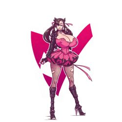 Rule 34   1girl, boots, breasts, choker, cleavage, creatures (company), dress, game freak, goth, gothic, high heel boots, high heels, huge breasts, jacket, leather, leather jacket, looking at viewer, marnie (pokemon), n647, nail polish, nintendo, nipples visible through clothing, older, pinup, pokemon, pokemon (game), pokemon swsh, punk, solo, torn clothes, torn legwear, twintails