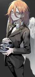 1boy, absurdres, angel devil (chainsaw man), angel wings, black jacket, black neckwear, black pants, black suit, chainsaw man, expressionless, feathered wings, formal, glowing, glowing eyes, grey background, hair between eyes, highres, holding, jacket, long hair, looking at viewer, orange hair, pants, red hair, shirt, simple background, st (youx1119), statue, white shirt, wings