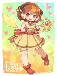 1girl, :3, animal ears, artist name, back bow, bare arms, bare shoulders, blurry, bokeh, bow, brown hair, buck teeth, commentary request, dated, depth of field, detached wings, dress, earrings, eyebrows visible through hair, full body, fur-trimmed footwear, fur trim, guinea pig ears, heart, holding, holding wand, jewelry, leg up, logo, looking at viewer, magical girl, making-of available, morumi, multicolored hair, open mouth, orange hair, pui pui molcar, red bow, red eyes, red footwear, reward available, shigatake, short hair, sleeveless, sleeveless dress, smile, solo, streaked hair, wand, white hair, wings, wrist cuffs, yellow dress, yellow wings