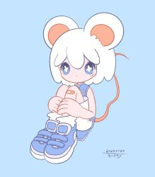 + +, 1girl, animal ears, bandaid, bandaid on knee, blue background, blue eyes, blue footwear, bright pupils, dated, expressionless, highres, knees up, mouse ears, mouse tail, no nose, original, shirt, shoes, shorts, signature, simple background, sleeveless, sleeveless shirt, solo, symbol-shaped pupils, tail, white pupils, white shorts, zukky000