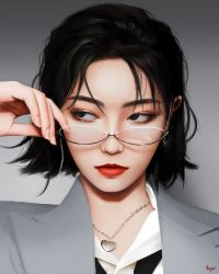 1girl, asian, black eyes, black hair, commentary, english commentary, formal, glasses, grey suit, hair behind ear, hand on eyewear, heart, heart necklace, highres, jewelry, kiki xu, looking to the side, nail polish, necklace, parted hair, pink nails, raffy, real life, realistic, shirt, short hair, solo, suit, upper body, white shirt