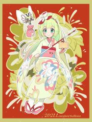 1girl, arrow (projectile), artist name, bangs, blonde hair, blush, border, closed mouth, commentary request, creatures (company), dated, eyelashes, floral print, flower, full body, game freak, gen 7 pokemon, green eyes, hair flower, hair ornament, holding, holding arrow, japanese clothes, kimono, kokoroko, lillie (pokemon), looking at viewer, nintendo, outline, pokemon, pokemon (creature), pokemon (game), pokemon masters ex, pouch, ribombee, sash, smile, socks, white legwear, wide sleeves