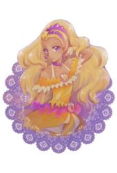 1girl, aizen (syoshiyuki), amamiya erena, bare shoulders, blonde hair, commentary request, cure soleil, dark skin, dark skinned female, dress, earrings, eyelashes, hair ornament, highres, jewelry, long hair, looking at viewer, magical girl, mole, orange dress, precure, purple eyes, solo, star (symbol), star twinkle precure, wrist cuffs