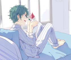 1boy, :d, animal, bandaid, bandaid on nose, bangs, barefoot, boku no hero academia, cat, clover, commentary request, four-leaf clover, freckles, from side, full body, glasses, green eyes, green hair, hands up, highres, holding, holding animal, indoors, li he, long sleeves, male focus, midoriya izuku, open mouth, pajamas, pants, pillow, shirt, short hair, sitting, smile, striped, striped pants, striped shirt, todoroki shouto, waking up, white shirt, window