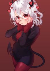 1girl, absurdres, arms up, black horns, black miniskirt, black suit, black tail, blush, breasts, demon girl, demon horns, demon tail, eyebrows visible through hair, formal, gradient, gradient background, hair between eyes, heart, heart-shaped pupils, heart in eye, helltaker, highres, horns, large breasts, long sleeves, looking at viewer, miniskirt, modeus (helltaker), nail polish, pantyhose, red background, red eyes, red legwear, red nails, red sweater, ribbed sweater, shirt, short hair, solo, suit, sweater, symbol-shaped pupils, symbol in eye, taemin, tail, white hair