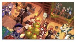 + +, 4boys, 6+girls, absurdres, ahoge, amber (genshin impact), androgynous, asymmetrical legwear, aura, backpack, bag, bangs, baron bunny (genshin impact), bead necklace, beads, beidou (genshin impact), black coat, black hair, blonde hair, blush, boots, box, braid, breasts, cape, capelet, chains, chinese clothes, choker, christmas, christmas ornaments, christmas tree, coat, coin hair ornament, cup, diluc ragnvindr, dress, drinking glass, earrings, eyepatch, floating, flower, full body, fur trim, genshin impact, gift, gift box, gloves, glowing, green headwear, hair between eyes, hair over one eye, hair ribbon, halo, hat, hat feather, hat ornament, high heel boots, high heels, highres, holding, holding cup, holding instrument, indoors, instrument, jean gunnhildr (genshin impact), jewelry, kaeya alberich, keqing (genshin impact), klee (genshin impact), knee boots, large breasts, lemontansan, leotard, long hair, long sleeves, low twintails, mona megistus, multiple boys, multiple girls, necklace, open mouth, painting (object), pantyhose, pelvic curtain, pointy ears, purple eyes, purple hair, qing guanmao, qiqi (genshin impact), railing, red capelet, red dress, red eyes, red hair, red headwear, red ribbon, ribbon, short hair, shoulder guard, sleeves past wrists, smile, talisman, tassel, thigh boots, thighhighs, twin braids, twintails, venti (genshin impact), vision (genshin impact), white dress, white feathers, white flower, white hair, white legwear, wide sleeves, window, wine glass, yellow eyes, zhongli (genshin impact)