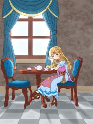 1girl, armor, arms, artist request, bangs, belt, belted dress, blonde hair, blush, boots, bracelet, building, cape, chair, cup, curtains, day, diadem, dress, earrings, feet, female focus, fingers together, floor, flower print, full body, green eyes, hands, hands together, high heels, highres, indoors, jewelry, long dress, long hair, looking at viewer, lots of jewelry, neck, necklace, nintendo, pointy ears, princess zelda, print dress, sandals, shade, shadow, short-sleeved dress, short sleeves, shoulder armor, sitting, sky, solo, table, tea, teacup, teapot, the legend of zelda, the legend of zelda: a link between worlds, tiara, toeless footwear, toenails, toes, triforce, triforce earrings, tunic, white cape, white dress, white tunic, window