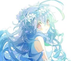 1girl, antenna hair, bangs, bare shoulders, bloom, blue hair, blush, character request, closed mouth, dress, eyebrows visible through hair, flower, hair between eyes, hair flower, hair ornament, head wreath, hibi89, long hair, looking at viewer, looking to the side, merc storia, pink eyes, shirt, sleeveless, sleeveless shirt, smile, solo, sparkle, upper body, very long hair, wavy hair, white background