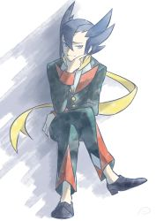 1boy, bangs, black footwear, black hair, buttons, chin stroking, closed mouth, commentary request, creatures (company), elite four, full body, game freak, grey eyes, grimsley (pokemon), hair between eyes, highres, jacket, legs crossed, light smile, long sleeves, male focus, nintendo, pants, pokemon, pokemon (game), pokemon bw, punico (punico poke), scarf, shoes, sitting, solo, yellow scarf