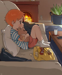 1boy, bag of chips, blush, brand name imitation, child, chips, controller, couch, cup, drinking glass, fireplace, food, from side, highres, male focus, milk, object hug, orange hair, original, pillow, plant, potato chips, potted plant, profile, remote control, rug, shirt, short hair, shorts, socks, solo, striped, striped shirt, stuffed animal, stuffed toy, teddy bear, thebrushking, watching television