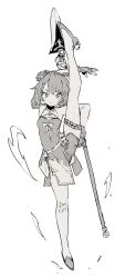 1girl, arm behind back, bandaged knees, bangs, breasts, ddari, fingerless gloves, genshin impact, gloves, greyscale, guoba (genshin impact), hair rings, highres, holding, holding lance, holding polearm, holding weapon, lance, looking at viewer, monochrome, polearm, short hair, small breasts, smile, solo, split, standing, standing on one leg, standing split, weapon, white background, xiangling (genshin impact)
