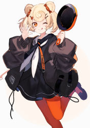 1girl, animal ears, arknights, bear ears, black dress, black footwear, black jacket, blonde hair, blush, candy hair ornament, closed mouth, commentary, cowboy shot, curly hair, dress, eyebrows visible through hair, eyelashes, flat chest, food themed hair ornament, frying pan, gummy (arknights), hair ornament, hairclip, holding, holding frying pan, jacket, licking lips, long sleeves, looking at viewer, one eye closed, open clothes, open jacket, orange eyes, orange legwear, palms, pantyhose, sailor collar, sailor dress, shoes, short hair, shugao, simple background, smile, solo, standing, standing on one leg, strap, symbol commentary, tongue, tongue out, twintails, unzipped, waving, white background