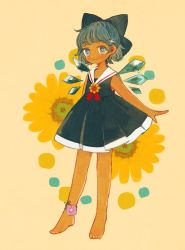 1girl, adapted costume, ankle flower, barefoot, blue bow, blue dress, blue eyes, blue hair, bow, cirno, dress, flower, full body, hair bow, morning glory, pleated dress, sailor collar, sleeveless, sleeveless dress, solo, sunflower, tan, tanned cirno, touhou, yellow background, yujup
