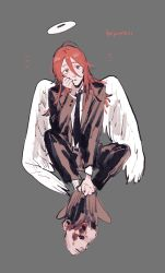 1boy, aimuz1, androgynous, angel devil (chainsaw man), angel wings, black jacket, black legwear, black neckwear, black pants, black suit, blood, brown eyes, brown footwear, brown hair, chainsaw man, collared shirt, corpse, english text, eyebrows, eyelashes, feathered wings, feathers, formal, grey background, hair between eyes, halo, hand on own face, head tilt, highres, jacket, long hair, long sleeves, looking at viewer, male focus, necktie, pale skin, pants, parted lips, severed head, shirt, sleeves past elbows, socks, solo, solo focus, suit, white shirt, wings