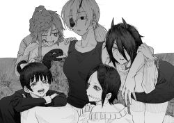 5girls, arm over shoulder, bare shoulders, black sclera, blush, bow, chainsaw man, colored sclera, cosmo (chainsaw man), couch, creature, cuffs, demon horns, eyeball, eyebrows visible through hair, eyepatch, greyscale, hair between eyes, hair bow, handcuffs, hatching (texture), heart, heart-shaped pupils, highres, horns, leaning, long (chainsaw man), long hair, looking at another, looking at viewer, messy hair, monochrome, multiple girls, off shoulder, open mouth, otsudou, parted lips, pingtsi (chainsaw man), ponytail, quanxi (chainsaw man), scar, scar on face, simple background, sitting, sleeves past wrists, smile, spread legs, stitches, symbol-shaped pupils, teeth, tied hair, tongue, tongue out, tsugihagi (chainsaw man), white background