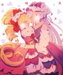 2girls, absurdres, aisaki emiru, bare shoulders, blonde hair, blush, bow, commentary request, cure amour, cure macherie, dress, earrings, eyes closed, gloves, grgrton, hair bow, happy, highres, hugtto! precure, jewelry, layered dress, long hair, looking at another, magical girl, multiple girls, open mouth, pink dress, pom pom (clothes), pom pom earrings, precure, puffy short sleeves, puffy sleeves, purple bow, purple dress, purple hair, red bow, ruru amour, short sleeves, smile, twintails, white gloves, yuri