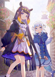 2girls, adapted uniform, alternate costume, animal ears, apron, artist name, bag, bangs, black dress, black hair, black neckwear, black ribbon, blue capelet, blue coat, blue eyes, blue hair, blue nails, blunt bangs, bow, branch, breasts, capelet, cherry blossoms, coat, commentary, cowboy shot, day, double-breasted, dress, extra ears, eyebrows visible through hair, fish tail, frills, gawr gura, gradient hair, hair ornament, handbag, highres, hinasumire, holding, holding branch, hololive, hololive english, knees together feet apart, large bow, long hair, looking at viewer, medium hair, mole, mole under eye, multicolored hair, multiple girls, nail polish, neck ribbon, ninomae ina'nis, orange hair, orange nails, outdoors, pointy ears, puffy sleeves, purple eyes, ribbon, shark hair ornament, shark tail, short twintails, signature, silver hair, small breasts, smile, standing, streaked hair, tail, tako (ninomae ina'nis), tentacle hair, tiara, twintails, two-tone hair, two side up, very long hair, virtual youtuber, yellow bow