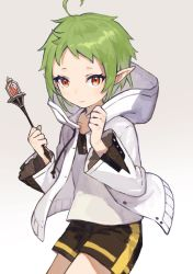 1girl, ahoge, black shorts, closed mouth, commentary request, gradient, gradient background, green hair, grey background, highres, holding, holding wand, hood, hood down, hooded jacket, jacket, karamomo, long sleeves, looking at viewer, mushoku tensei, open clothes, open jacket, pointy ears, red eyes, shirt, short hair, short shorts, shorts, smile, solo, sylphiette (mushoku tensei), wand, white background, white jacket, white shirt, wide sleeves
