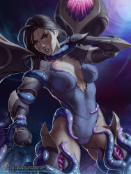 Rule 34   1girl, bodysuit, breasts, female focus, highres, kai'sa, league of legends, restrained, tentacle, themaestronoob, watermark