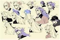 1boy, aa (sirokuro28), arrow (symbol), bangs, baseball cap, black headwear, champion uniform, clenched teeth, closed mouth, commentary request, cravat, creatures (company), facial hair, game freak, grin, hat, leon (pokemon), long hair, male focus, multiple views, nintendo, pokemon, pokemon (game), pokemon swsh, purple hair, shirt, smile, teeth, translation request