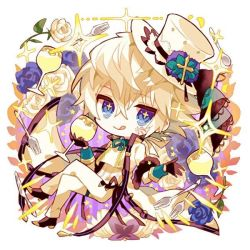 + +, 1boy, :q, bangs, black footwear, black gloves, blue eyes, blue flower, blue rose, chibi, coat, cup, drinking glass, eyebrows visible through hair, flower, fork, gloves, green ribbon, hat, hat ornament, hibi89, holding, holding cup, looking at viewer, male focus, merc storia, neck ribbon, pants, ribbon, rose, short hair, smile, solo, sparkle, tongue, tongue out, top hat, white coat, white flower, white hair, white pants, white rose, wine glass