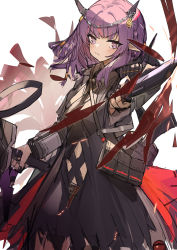 1girl, arknights, bag, blush, demon girl, demon horns, highres, holding, holding weapon, horns, knife, lava (arknights), looking back, purgatory (arknights), purple eyes, purple hair, skirt, solo, torn clothes, torn skirt, weapon, yurooe