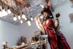 Rule 34   animal ears, asian, breasts, brown hair, capelet, chunmomo0127, cleavage, cosplay, dress, fox ears, fur-trimmed capelet, fur trim, huge breasts, japanese (nationality), long hair, red dress