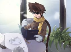 1boy, alternate costume, bangs, blues (rockman), brown coat, brown hair, buttons, cafe, chair, chikichi, closed mouth, coat, coffee, cup, drink, gloves, hand up, highres, holding, holding cup, indoors, jpeg artifacts, long sleeves, male focus, menu, plant, plate, reading, rockman, rockman 3, scarf, short hair, solo, spoon, steam, sugar bowl, sunglasses, swept bangs, table, teacup, white gloves, window, yellow scarf