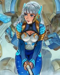 1girl, alternate hair color, alternate hairstyle, bangs, blue bodysuit, blue eyes, blunt bangs, bodysuit, breasts, celestial d.va, cleavage, cleavage cutout, clothing cutout, commentary, d.va (overwatch), english commentary, gun, headpiece, highres, holding, holding gun, holding weapon, john crayton, lips, long hair, mecha, medium breasts, meka (overwatch), nose, official alternate costume, open mouth, overwatch, pilot suit, silver hair, skin tight, solo, upper teeth, weapon