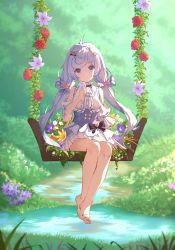 1girl, bangs, bare legs, bare shoulders, barefoot, blue eyes, bow, breasts, character request, closed mouth, detached sleeves, dress, flower, h1910984490, hair bow, hair ornament, hairclip, highres, holding, holding flower, long hair, looking at viewer, plant, silver hair, sitting, smile, swept bangs, twintails, virtual youtuber