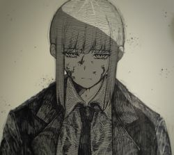 1girl, ate5424, bangs, black coat, black neckwear, blood, blood on face, chainsaw man, coat, collared shirt, eyebrows, eyebrows visible through hair, female focus, formal, hair between eyes, highres, long hair, long sleeves, looking at viewer, makima (chainsaw man), monochrome, necktie, pale skin, shirt, sidelocks, solo, solo focus, suit, unusual pupils, white background, white shirt