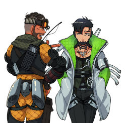 2boys, annoyed, apex legends, black gloves, black hair, black pants, crypto (apex legends), cyborg, finger gun, from behind, gloves, goggles, goggles on head, green eyes, green sleeves, grey jacket, hand on hip, highres, husagin, jacket, looking to the side, male focus, mirage (apex legends), multiple boys, open mouth, pants, pointing, pointing to the side, science fiction, smile, walkie-talkie, walking, white background