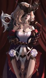 1girl, absurdres, bare shoulders, blonde hair, breasts, cleavage, clothing cutout, coat, coin, collarbone, cowboy shot, curtains, dress, elbow gloves, elbow on arm, elbow rest, eyelashes, eyepatch, flower, fur-trimmed coat, fur trim, gem, genshin impact, gloves, hand up, headpiece, highres, holding, holding coin, lace-trimmed eyepatch, large breasts, leather, leather gloves, lips, lipstick, long hair, looking at viewer, makeup, navel, navel cutout, off shoulder, one eye covered, pelvic curtain, purple eyes, red curtains, red gloves, rose, shading, signora, solo, sparkle, strapless, strapless dress, studded gloves, tassel, tsurime, white dress, white flower, white rose, wi33ard
